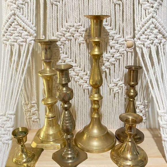 Vintage Brass Candlesticks Box Set of 6 Mix Match